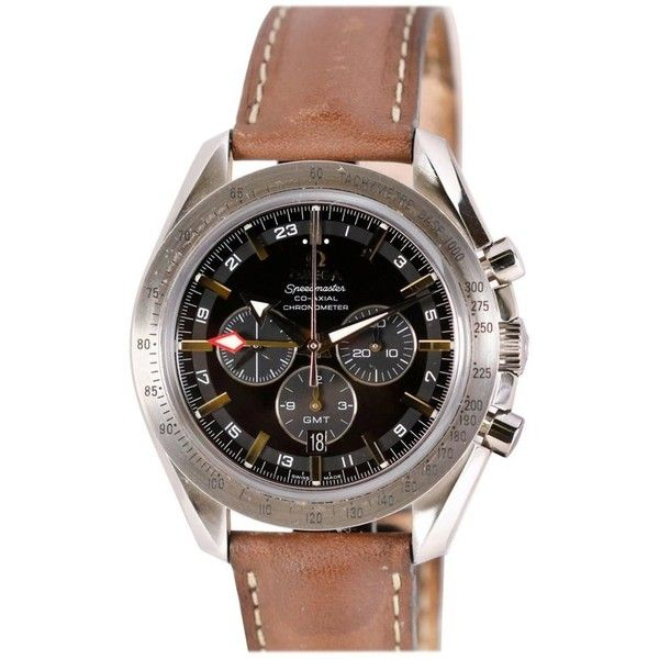 Preowned Omega Stainless Steel Speedmaster Broad Arrow Gmt Chronograph... (€3.335) ❤ liked on Polyvore featuring jewelry, watches, multiple, wrist watches, chronograph watch, preowned watches, chronos watch, stainless steel chronograph watch and stainless steel wrist watch