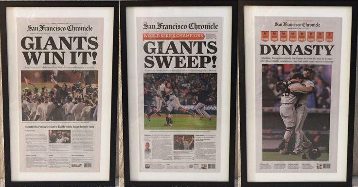 Framed 2010, 2012, 2014 San Francisco Giants World Series Newspaper SF Chronicle