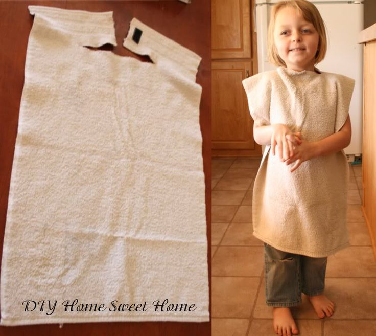 Over-sized Bib... from a hand towel..... Cut a slit about 3-4 inches down the cent of the towel and then another slit across the towel large enough to wrap around their neck.