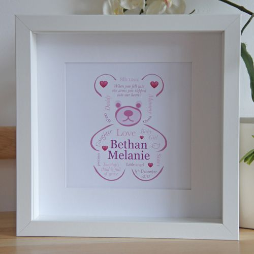 A beautiful #keepsake for new parents, this framed print is personalised to celebrate a new baby. This stunning artwork can be designed in a range of colours.