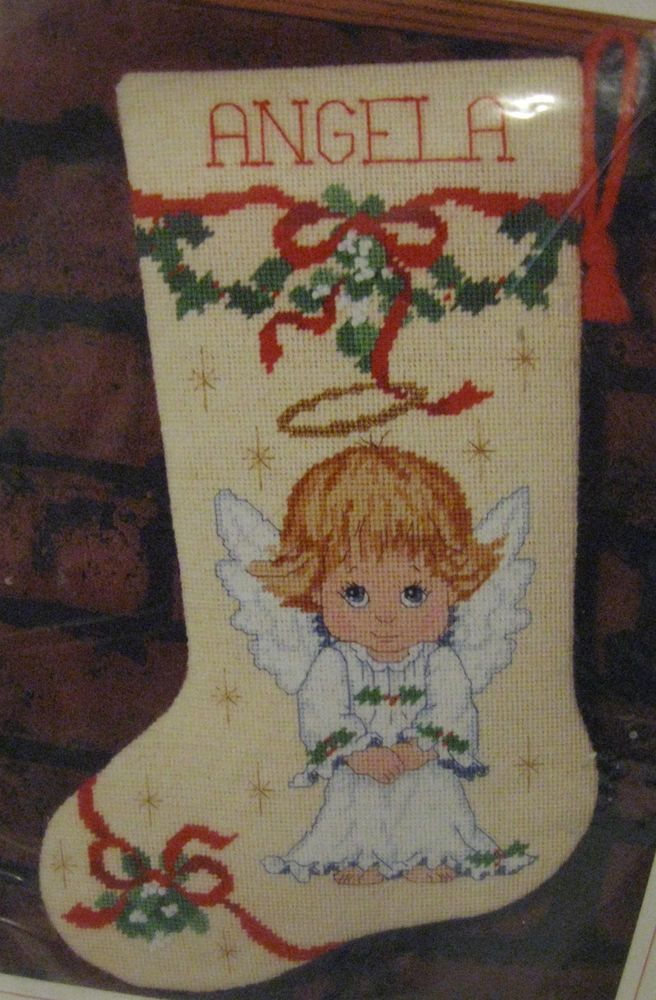 Sunset Needlepoint Stocking Kit Mistletoe & Holly Angel Christmas 19007 #SunsetDesigns