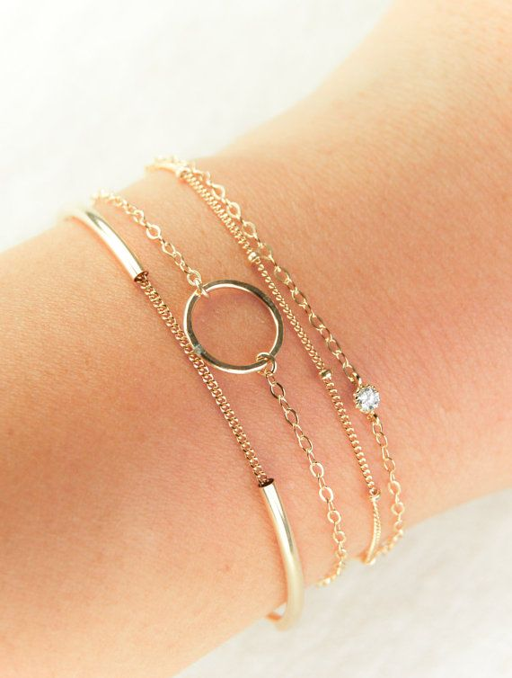 Haele Bracelet 14kt Gold Filled Eternity Simple Circle Delicate Anniversary Gift Birthday Friendship Jewelry