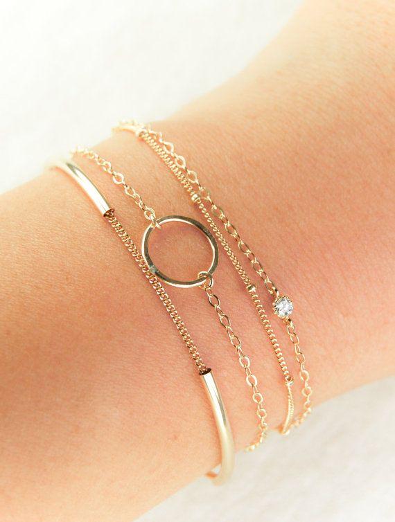 Hoku Satellite bracelet a delicate 14kt gold by kealohajewelry