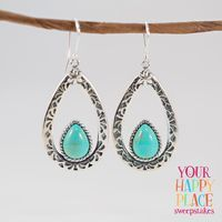 A happy place should be filled with the things you love...like dazzling dangle earrings! || Southwest Style By Jtv™ Pear Shape Blue Kingman Turquoise Sterling Silver Earrings [Promotional Pin]