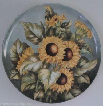 Large Ceramic Sunflowers Plaque - Signed & dated 1882