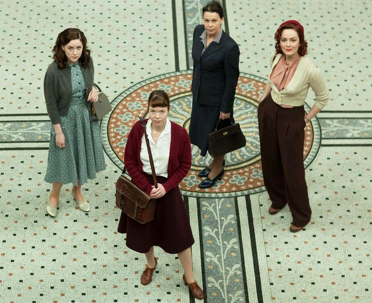Sophie Rundle, Anna Maxwell Martin, Julie Graham, and Rachael Stirling play former Bletchley code-breakers who reunite to track down a serial killer. (The Bletchley Circle)