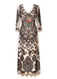 Michal Negrin Sumptuous Long Sleeves V-Neck Special Occasion Dress Made of Printed Chiffon Lycra, Decorated with Swarovski Crystals, Roses and Embroidery-Like Pattern and Lace Trim Lining