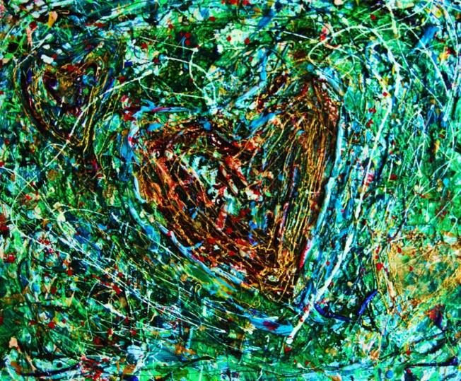 Cuore nel prato, tecniche miste, 40 x 60 cm., 2009  http://visionipoetiche.com/2013/04/22/a-volte-sometimes/