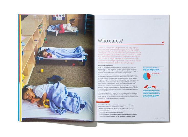 Ms. Foundation for Women Annual Report   Designed by Sullivan. //  color text and bullets