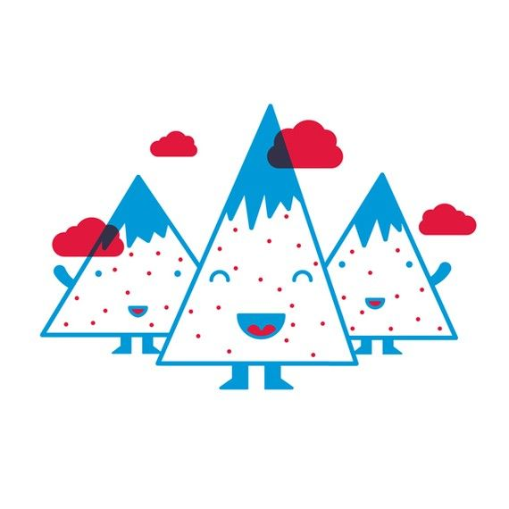 Zeefdruk 'Happy mountains' rode en blauwe inkt op door formfabrik