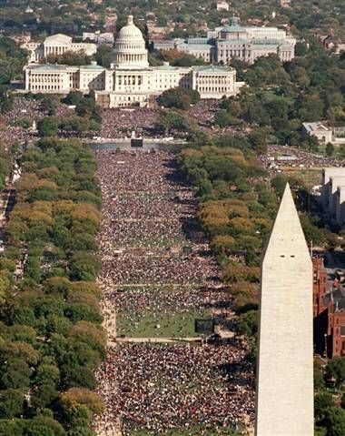 Million Man March crowd at Mall, October 16, 1995: