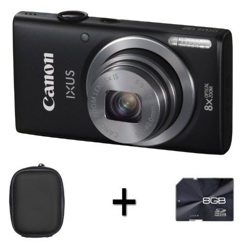 Canon IXUS 132 - Black + Case and 8GB Memory Card (16MP, 28mm Wide Angle,8x Optical Zoom) 2.7 inch LCD by DiscountedDigital, http://www.amazon.co.uk/dp/B00B9BLF4E/ref=cm_sw_r_pi_dp_1S6Nsb1W0DNCP
