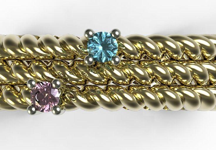 Diamante azzurro cobalto e zaffiro rosa
