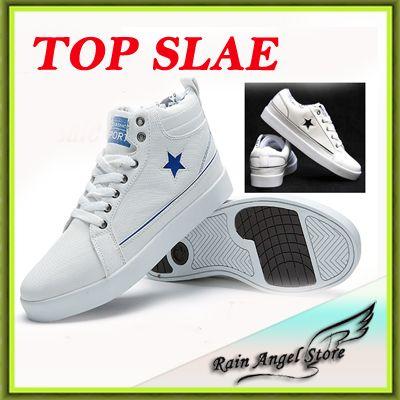 Горячий Продавать Качество Мужская ShoesFashion босоножки Звезда Печати Мужчины Туфли На Платформе Дышащая Высокие Вершины мужские Ботинки Холстины белый
