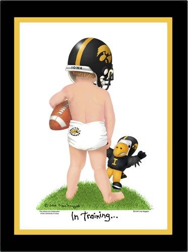 """In Training"" Collection by Fran Baggett  This adorable Iowa football player ""In Training"" is a winner, no matter what the score!  Signed & numbered reproduction of my original watercolor painting"