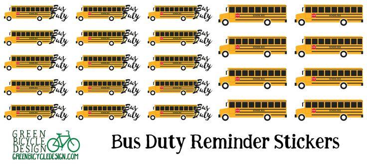 Bus, Duty, Field Trip Teacher & Parent Planner Stickers
