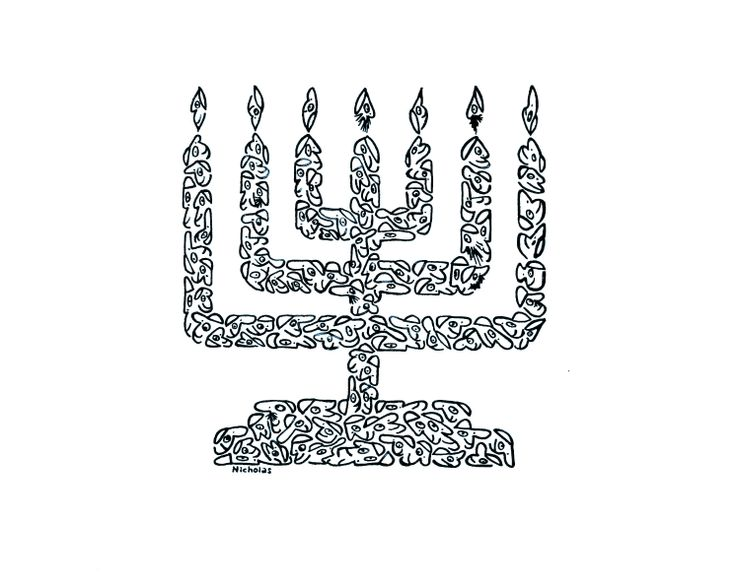 "LOOK CLOSELY!, ""MENORAH, MADE OF LITTLE FACES"" - Created by comic illustrator, 'NICHOLAS', for a series of hundreds of humorous, original images, drawn with little faces and objects. These drawings can be placed on any variety of objects - from posters, greeting cards, postage stamps, to t-shirts, children's wallpaper, coffee and beer mugs, and pillows, as well as sports items. These illustrations are available on many objects sold by 'Zazzle', by going to 'Minifaces by Nicholas'."