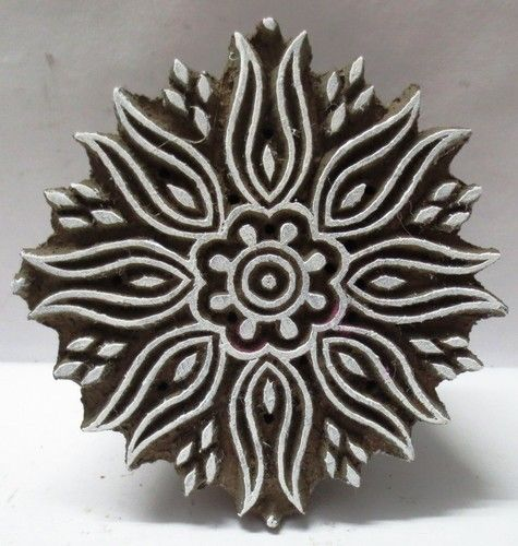 Indian Wooden Hand Carved Textile Printing on Fabric Block Stamp Art Pattern. Jaipur, Rajasthan, India