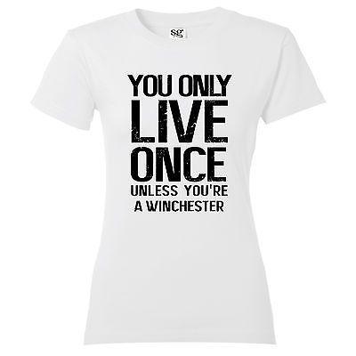 """Goedkope Womens """"yolo"""" syfy demon hunters winchester brothers supernatural t shirt, koop Kwaliteit T- shirts rechtstreeks van Leveranciers van China: We zijn in de fabriek directe verkoop, verkoopt alleen hoge- kwaliteit goederen,Lage kwaliteit onvoorwaardelijke terugke"""