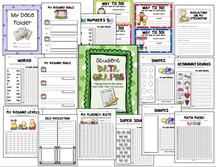 "Sample pages from ""Student Data Graphs"" - - Empower young children by allowing them to keep some of their own data in ""Data Notebooks.""  Click on link.  $6.00  http://www.teacherspayteachers.com/Product/Student-Data-Graphs-Goal-Setting-and-Self-Reflection-Sheets-K-2"