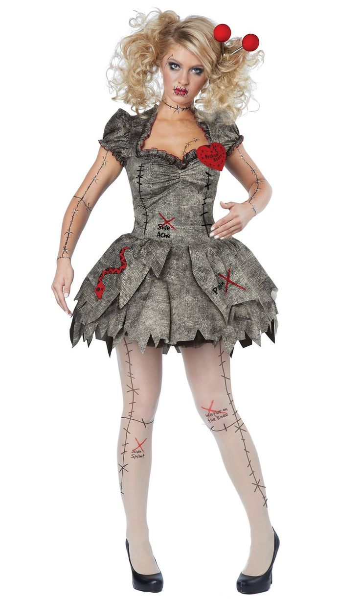 no one will want to mess with you in this three piece sexy voodoo dolly costume featuring a distressed grey mini dress with a jagged hem ruffled trim - How To Make A Doll Costume For Halloween