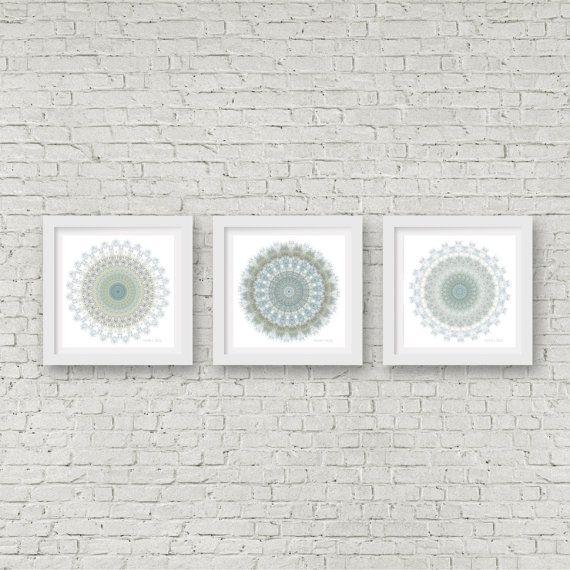 Mandala wall art matching set of 3 prints blue bathroom olive green decor bohemian art taupe boho white grey wall decor hallway living room