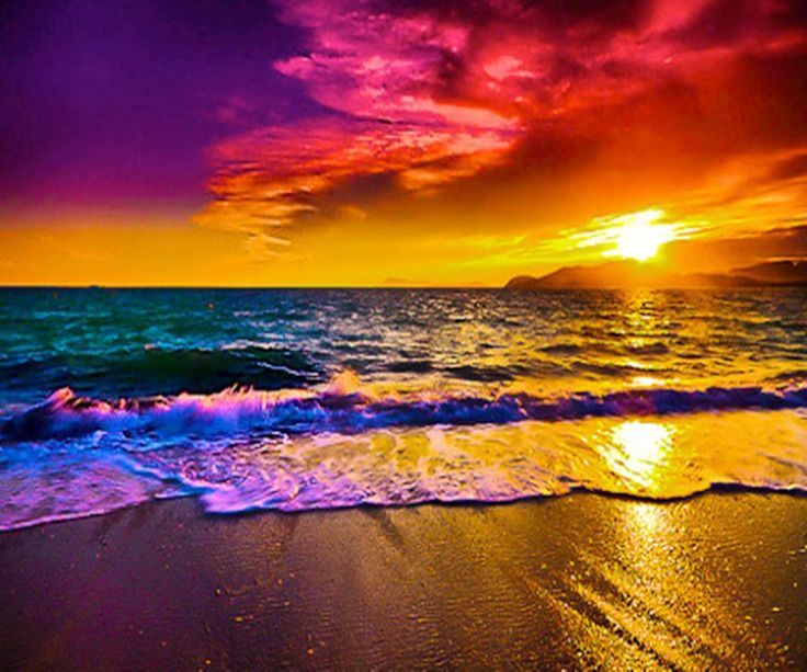 Sunset With Sea Wave Tap To See More Breathtaking Beach