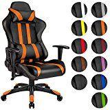 TecTake Chaise fauteuil siège de bureau racing sport ergonomique avec support lombaire et coussin - diverses couleurs au choix - (Orange Noir | No. 402233)