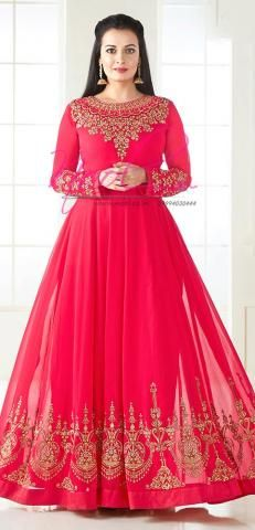 Neck Design Salwar Kameez Pink Georgette Unstitched Anarkali BZ5792D85596