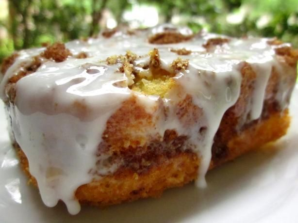 """Quick Cinnamon Roll Cake: """"Use a cake mix to recreate the gooey goodness of cinnamon rolls without all the extra work. In my opinion, anything that combines cinnamon rolls with cake is a definite winner!"""" -lilsweetie"""