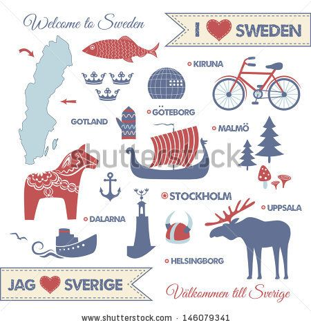 Vector set with design elements of symbols of Sweden and map by Alexandra Gl, via ShutterStock