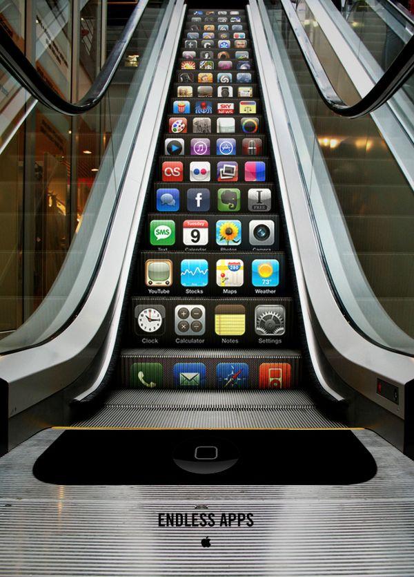 Escalera eléctrica iPhone por Yongwook Seong, via Behance. #AyudaiPhoneMx #iPhone