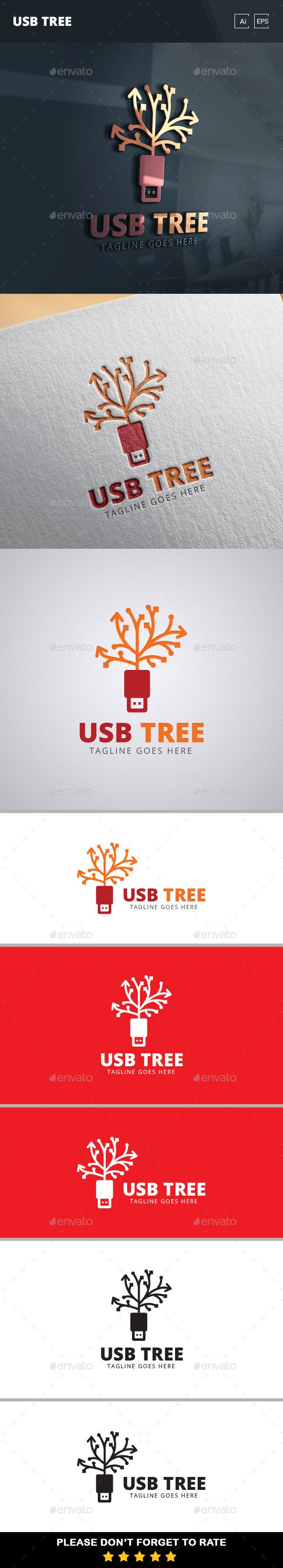 USB Tree  - Logo Design Template Vector #logotype Download it here: http://graphicriver.net/item/usb-tree-logo-template/11369887?s_rank=1163?ref=nexion
