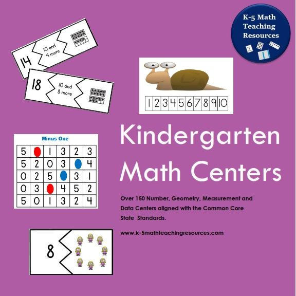 Kindergarten Math Centers contains over 150 Math centers for Number, Geometry, Measurement and Data aligned with the Kindergarten Common Core State Standards.