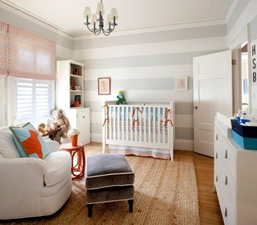 10 classic nurseries  waterfireviews.comStripes Wall, Boys Nurseries, Kids Room, Grey Stripes, Baby Boys, Striped Walls, Baby Room, Boys Room, Baby Nurseries