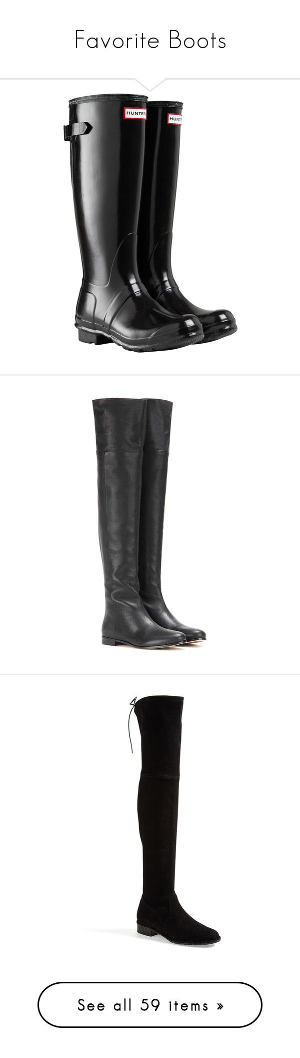 """""""Favorite Boots"""" by gracebeckett ❤ liked on Polyvore featuring shoes, boots, waterproof rain boots, wellington boots, knee high rubber boots, lined rain boots, low rain boots, black, black leather boots and black leather over the knee boots"""
