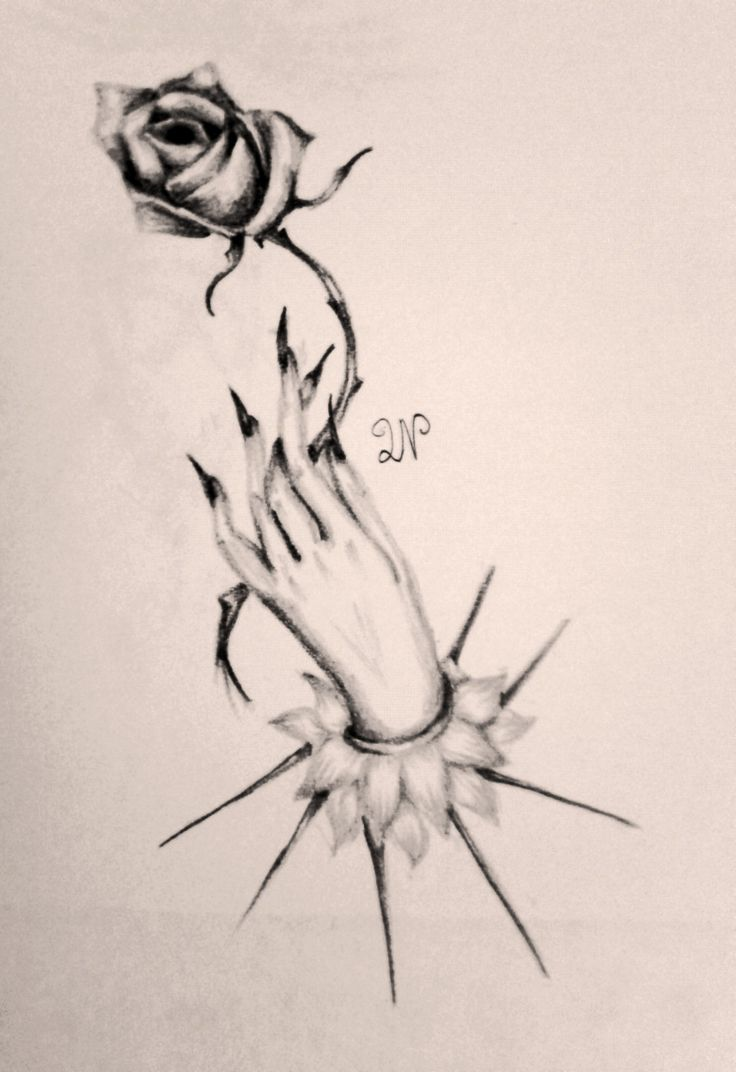 Hand and Rose Pencil Doodle