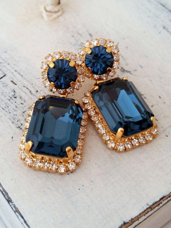 Navy Blue Chandelier Earrings Drop Dangle Bridal Deep Swarovski Gold Or Silver In 2018