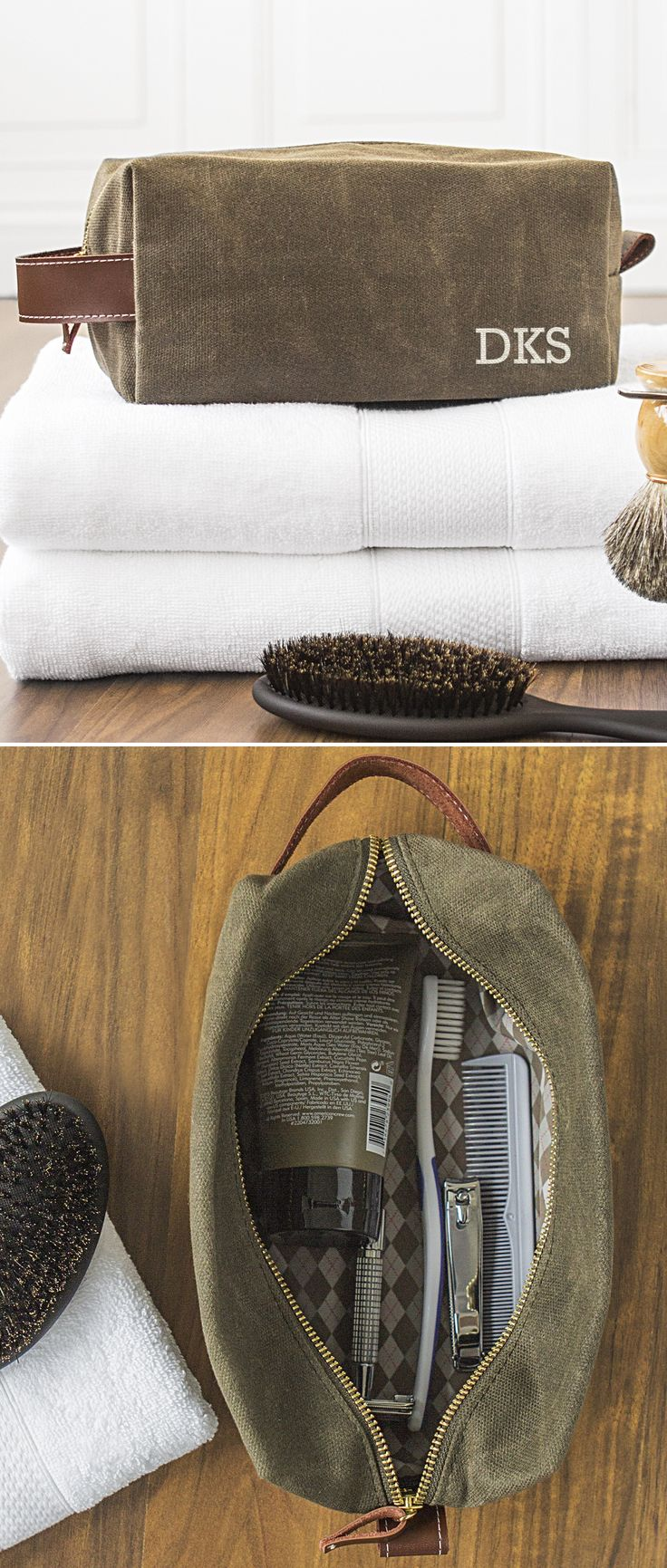 Men's toiletry bags make a useful gift for the guy on your birthday, Christmas, anniversary or just because gift list. Turn each toiletry bag into a dopp kit by adding a few items he is will need when traveling like a lint brush, soap and toothbrush case. Add his favorite shaving cream, aftershave, soap and razors to complete his personal grooming needs. This waxed canvas toiletry travel bag is personalized with three initials for a unique travel dopp kit any guy on your gift list will love.