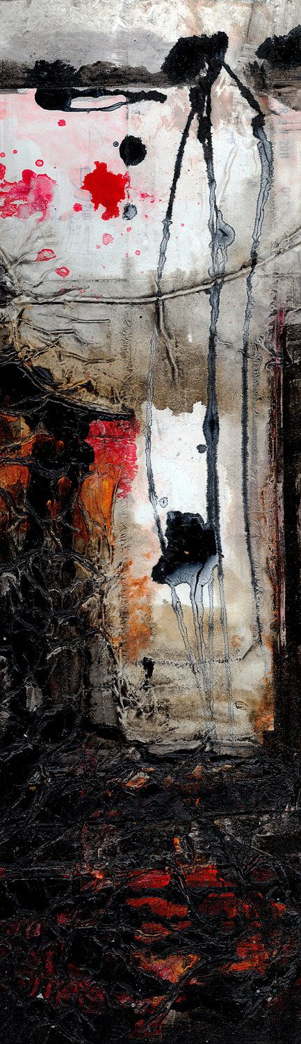 Encounters 4 ... Original Contemporary Modern  mixed media art painting by Kathy Morton Stanion EBSQ.