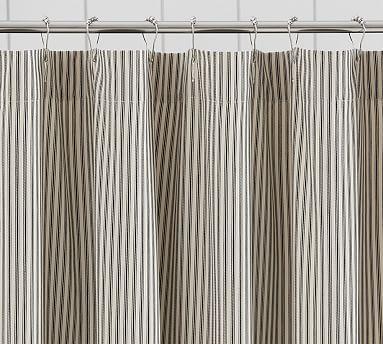 Ticking Stripe Ruffle Shower Curtain #potterybarn