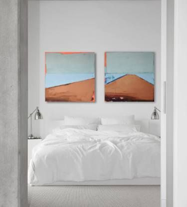 "Oil painting, canvas art, stretched, diptych ""Lake XVIII"". Size 55.11/27.5 inches (2x 27.5 x 27.5 inch -140/70cm)."