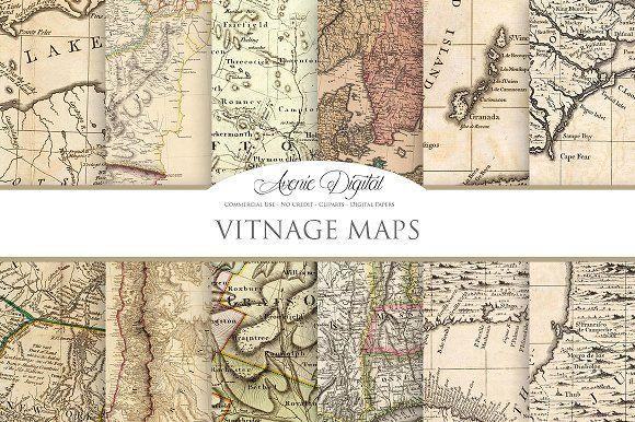 Vintage Maps Digital Paper by Avenie Digital on @creativemarket