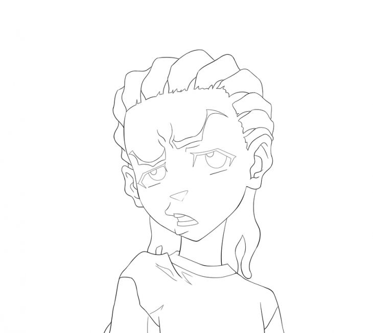 the boondocks riley raising his eyebrow coloring page