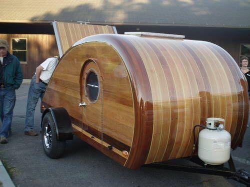 custom wood teardrop trailer, look at that finish! Beautiful