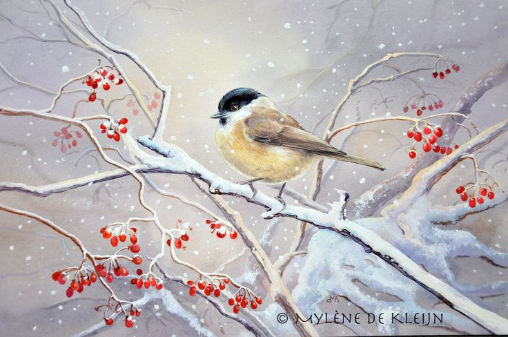 small tit in the snow, watercolor