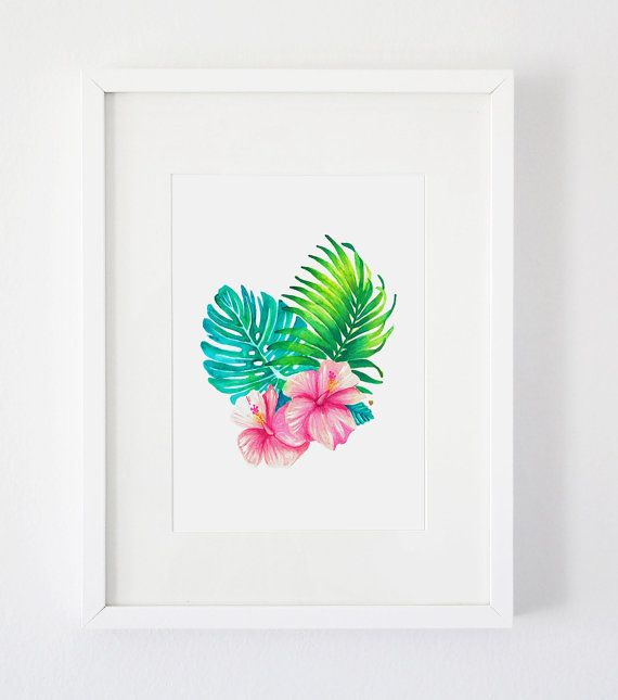 A4 Watercolour Tropical Leaves and Flowers von MonthOfJuneDesign                                                                                                                                                     More