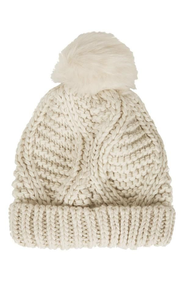 Topshop Cable Knit Pompom Beanie @Nordstrom