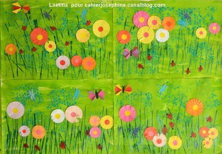 fleurs en collage et découpage