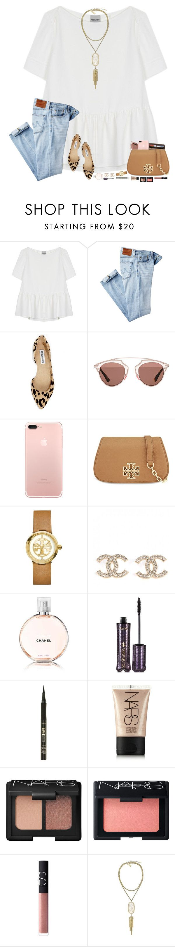 """""""going to a wedding tonight!"""" by hopemarlee ❤ liked on Polyvore featuring Rachel Comey, AG Adriano Goldschmied, Steve Madden, Christian Dior, Louis Vuitton, Tory Burch, Chanel, tarte, NARS Cosmetics and Kendra Scott"""